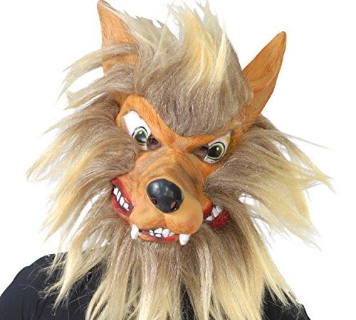 Guirca- Careta lobo latex con pelo, Talla unica (2724