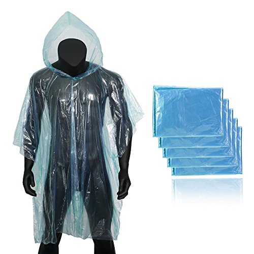 - Forbidden Road Poncho with Hood 5 Pack (One Size Fit All) Emergency Disposable Rain Poncho Cover Raincoat Lightweight Super Waterproof for Camping Hiking Backpacking Traveling Fishing Outdoor