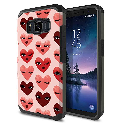 FINCIBO Case Compatible with Samsung Galaxy S8 ACTIVE G892A 5.8 inch, Dual Layer Hard Back Hybrid Protector Case Cover Anti Shock TPU For Galaxy S8 ACTIVE (NOT FIT S8/ S8 PLUS) - Flirty Hearts Pattern