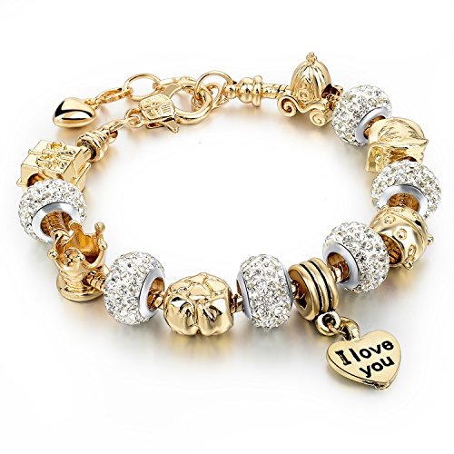 (Gold Plated Snake Chain Glass Beads I Love You Charm Beaded Bracelets for Women)