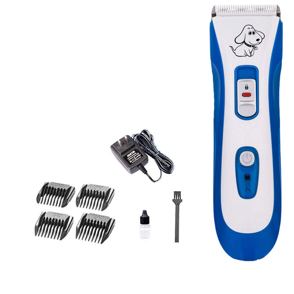 Dog Fast Cutting, Double Knife Head Low Noise Pet Hair Clipper Fine Tuning Pet Professional Beauty Tools 4 Comb Guide Dogs for Other Animals (P5 bluee)