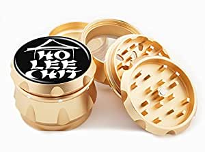 """Ho Lee Chit Design Premium Grade Aluminum Tobacco,Herb Grinder -4Pcs Large (2.5"""" Gold) # GLD-G50-7915-4"""
