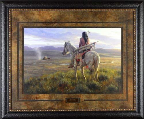(Curious by Robert Duncan 35x29 Gallery Quality Framed Art Print Indian Western Picture Painting)