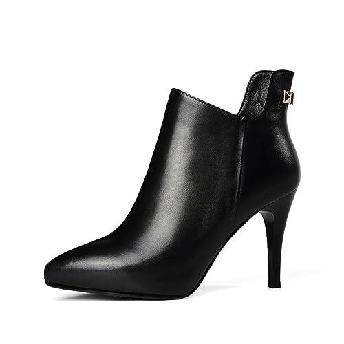 puntiagudos zapatos de tacón botas de moda desnuda/Bellas a damas botines de plataforma de