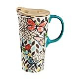 Cypress Home Butterfly Pastels Ceramic Travel Coffee Mug, 17 ounces