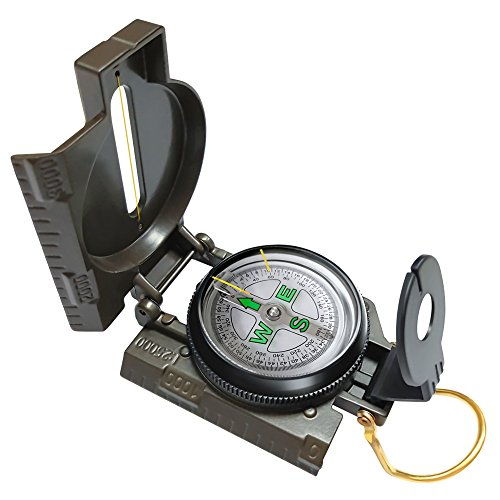 Eaggle Multifunctional Military Compass, Amy Green, Waterproof and Shakeproof, Compass for Outdoor, Camping, Hiking, Military Usage, Gifts (Compass Accurate)