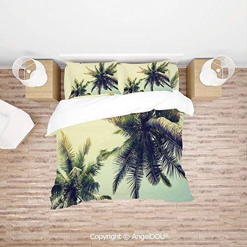 PUTIEN Modern Cotton Bedding 4 Pieces Set Duvet Cover Set,Coconut Trees on Tropical Beach Caribbean Coastline Ocean Summer,Soft Microfiber Duvet Cover Set.