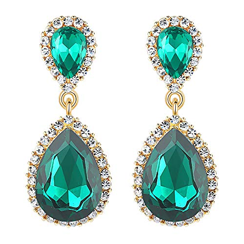 EVER FAITH Women's Austrian Crystal Wedding Tear Drop Dangle Earrings Green Gold-Tone