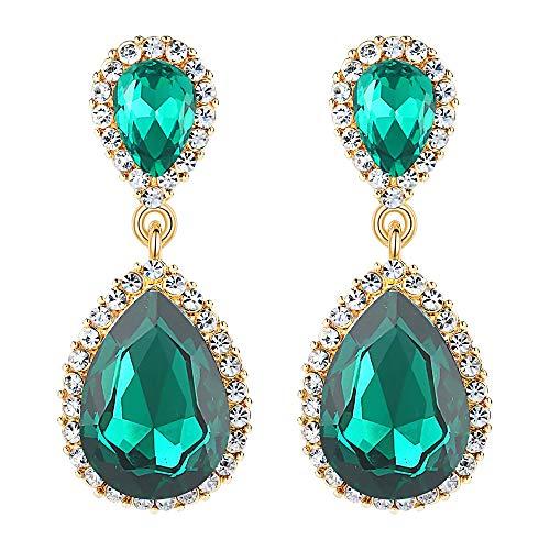 EVER FAITH Women's Austrian Crystal Wedding Tear Drop Dangle Earrings Green Gold-Tone ()