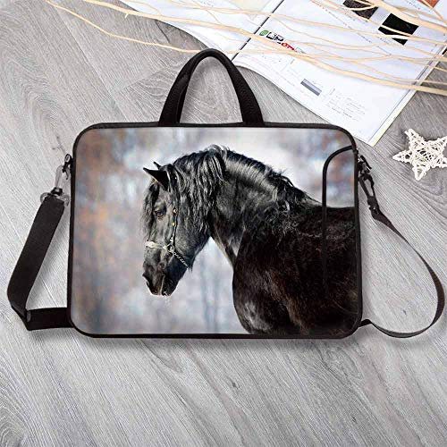 (Horse Decor Neoprene Laptop Bag,Black Stallion Portrait Profile in Winter Forest Friesian Mammal Purebred Laptop Bag for Office Worker Students,17.3