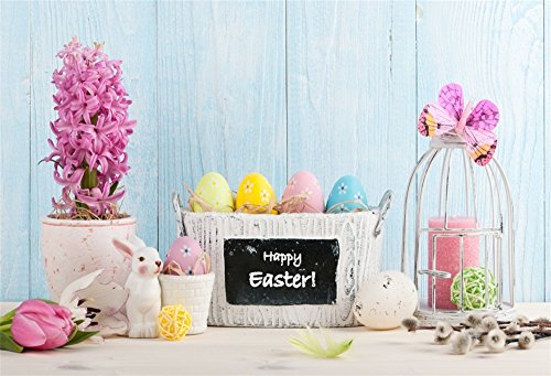 OFILA Happy Easter Backdrop 7x5ft Painted Eggs Basket Flowers Blossoms Bunny Plank Wall Butterfly Decoration Birdcage Spring Holidays Party Background Baby Shower Photos Children Kids Toddlers Shoots ()