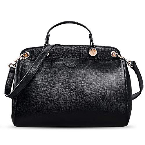 AB Earth Genuine Leather Designer Handbag for Women Doctor Style Top-Handle Tote Cross Body Shoulder Bag(Black)