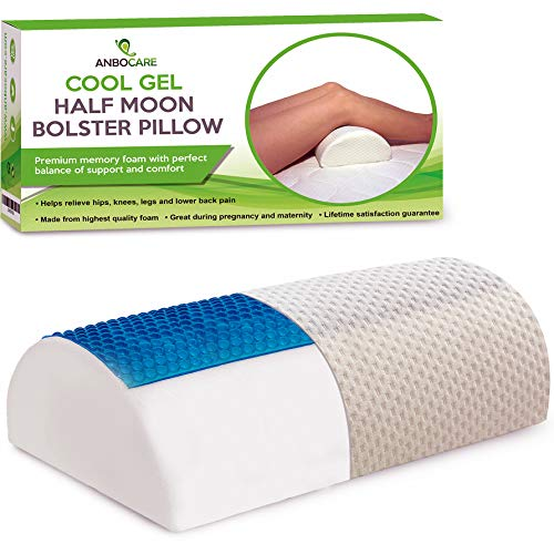 Foam Gel Cushion Wedge (AnboCare Half Moon Bolster Pillow - Half-Cylinder Cool Gel Memory Foam Relief Neck Lumbar Knee and Back Pain - Semi Roll Wedge for Leg Elevation Ultimate Support for Back and Side Sleepers)
