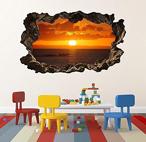 3D Wandtattoo Sonnenuntergang Wasser See Meer Sonne Wandbild Wandsticker Selbstklebend Wohnzimmer Wand Aufkleber 11E522