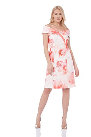 prix favorable style roman en soldes Roman Originals Femme Robe Col Bardot Motif Floral ...