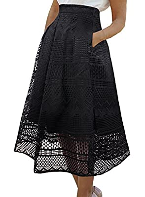 VFSHOW Womens Fashion Pleated Pockets Casual Party Skater A-Line Midi Skirt