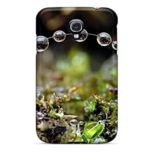 Fashion Tpu Case For Galaxy S4- Nature Plants Dew On Blades Defender Case Cover