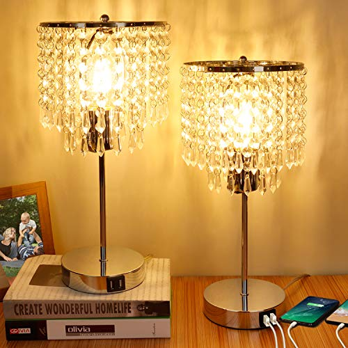 Set of 2 Crystal Touch Control Table Lamp, 3-Way Dimmable Bedside Lamps with Dual USB Charging Ports, K9 Crystal Shade…