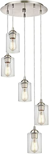 Satin Nickel Multi-Light Pendant with Clear Cylinder Glass and 5-Lights