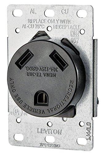 Leviton 7313-S00 30 Amp, 125 Volt, Nema TT-30R, 2P, 3W, Flush Mtg Receptacle, Straight Blade, Industrial Grade, Grounding Side Wired, Steel (Flush Side Outlet)