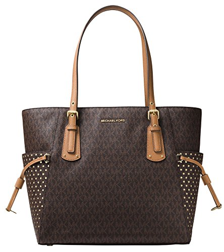 (MICHAEL Michael Kors Voyager East West Signature Tote (Brown))