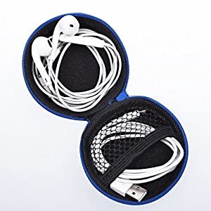 Earphone Case, MANYOUNG Clamshell Style PU Leather Case for Earphone Earbuds - Blue by MANYOUNG