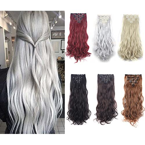 Cheap DODOING 7PCS 24 inches Highlight Wavy Curly Double Weft Full Head Clip in Hair Extensions 16Clips Women Lady Hairpiece hot sale