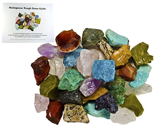 Fantasia Materials: 3 lbs Bulk Rough Madagascar Stone Mix with 30 Page Stone Info Book - Raw Natural Crystals & Rocks for Cabbing, Lapidary, Tumbling, Polishing, Wire Wrapping and Reiki - Natural Rock Crystal