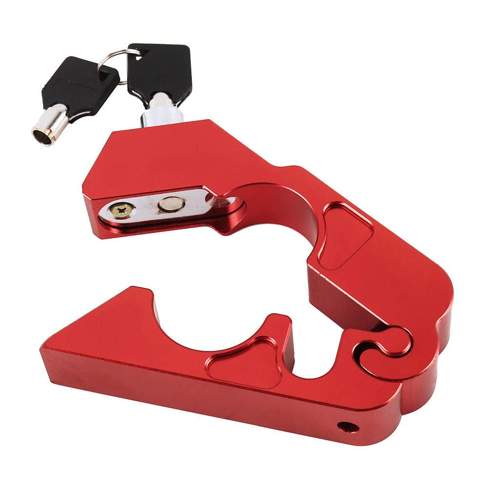 MOTOBA Motorcycle Handlebar Lock Universal Grip/Throttle/Brake/Handlebar Anti Theft Lock to Secure a Bike, Scooter, Moped or ATV(Red)