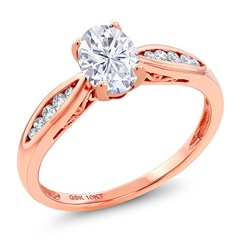 (10K Rose Gold Solitaire w/Accent Stones Ring Forever One (GHI) Oval 0.90ct (DEW) Created Moissanite by Charles & Colvard and Diamond (Size 6))