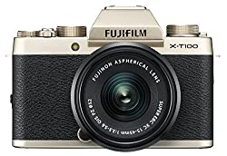 "Fujifilm X-t100 Wxc15-45mm Kit Champagne Gold Mirrorless Digital Camera With 3.0"" Tft Lcd"