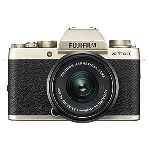51s7xJ UQkL. SS300  - Fujifilm X-T100 Mirrorless Digital Camera w/XC15-45mmF3.5-5.6 OIS PZ Lens - Champagne Gold