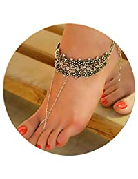 Eza Vision Silver Plated Boho Anklet Beach Summer Ankle Bracelet Foot Chain Jewelry Adjustable Barefoot Sandal