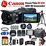 Canon Vixia HF G50 UHD 4K Camcorder (Black) (3667C002) with Extra Battery, UV Filter, Close Up Diopters, Wide Angle Lens,Tripod, Padded Case, LED Light, 64GB Memory Card and More Advanced Bundle