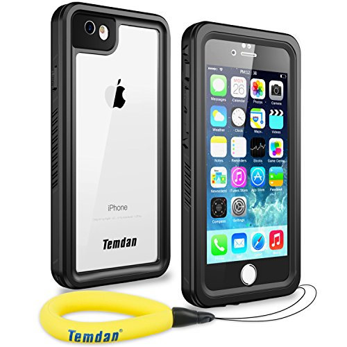 (Temdan 33ft/10m Deep Floatable Waterproof Case for iPhone 6/6s(4.7inch) with Float Strap-Black/Clear)
