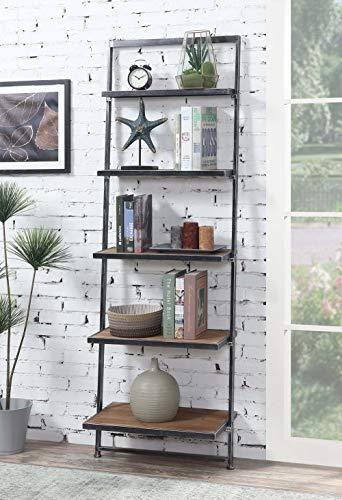 Five Tier Ladder - Convenience Concepts 413155NABL Laredo 5-Tier Ladder Bookcase, Natural/Antique Black Frame,