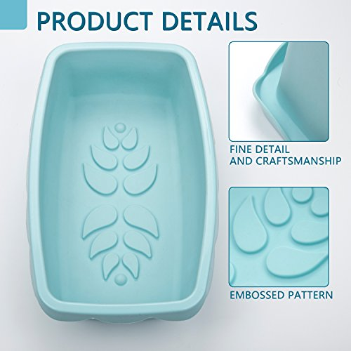 Silicone Loaf Pan Nonstick Bread Cake Baking Mold Rectangular with Decorative Pattern for Homemade Cakes Breads Meatloaf - 10.5 x 6.5 x 3.0 Inch - Microwave Dishwasher Safe, BPA Free by DOSHH (Image #2)'