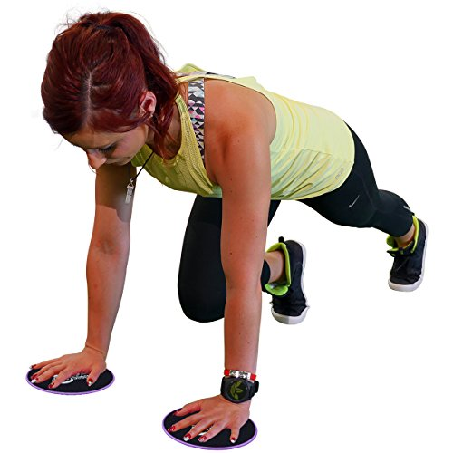 Large Product Image of Elite Sportz Exercise Sliders are Double Sided and Work Smoothly on Any Surface. Wide Variety of Low Impact Exercise's You Can Do. Full Body Workout, Compact for Travel or Home - Purple