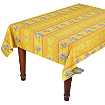 """58x84"""" Rectangular Lavender Yellow Cotton Coated Provence Tablecloth by Le Cluny"""