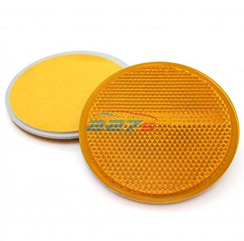 2x Amber Circular Reflectors, Self Adhesive, 78mm, Ideal for trailers, gateposts etc 227s