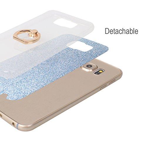 Galaxy S6 Funda con Anillo, Galaxy S6 Carcasa, Moon mood® Suave TPU + Papel Brillo Hybrid 2 en 1 con 360 Rotación Anillo Soporte Función Bling Glitter Sparkle Silicona Trasero Caso Cubierta Protectora Azul