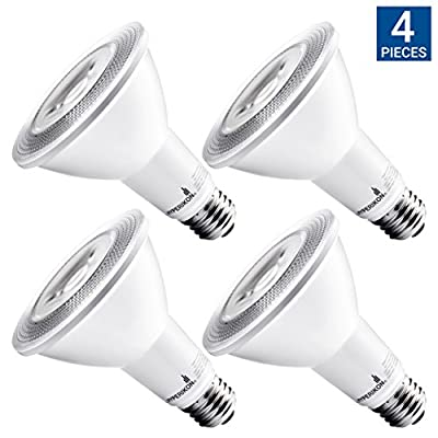 Hyperselect PAR30 LED Light Bulb, 10W (65W Equivalent), 3000K (Soft White Glow), Flood Light Bulb, Non Dimmable, Medium Base (E26), UL-Listed - Great for High Ceilings, Kitchen, Patio (4 Pack)
