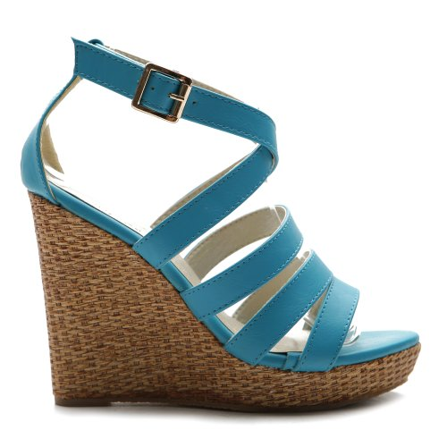 edge High Heel Platform Multi Color Sandal(6 B(M) US, Aqua) (Aqua Wedges)