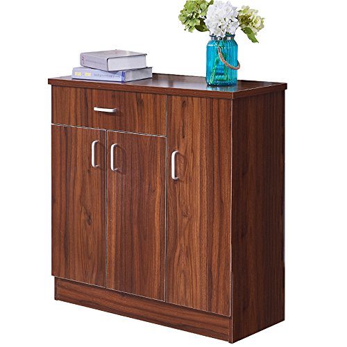 Dland Storage Cabinet WF-XG01WT, 3-Door & 1-Drawer, European Style Entryway Shoes Cabinet, Composite Wood Board, Walnut, 1 Pack (Door Cabinet 1)