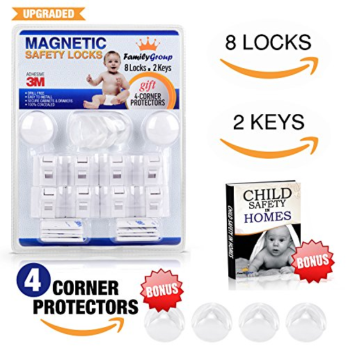 Child Safety Cabinet Locks   Magnetic Safety Locks Set For Cupboards   Drawers  8 Locks  2 Keys    4 Bonus Corner Guards   Baby Safety Ebook   Easy Installation  No Screws Or Drilling   By Familygroup