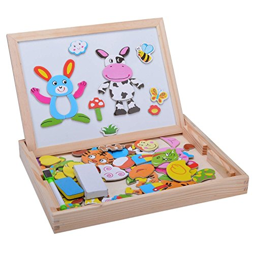 Minetom Baby Lernspielzeug Kinder Aus Holz Zeichnung Tafel Staffelei Magnetic Doodle 3D Holz Malen Tool