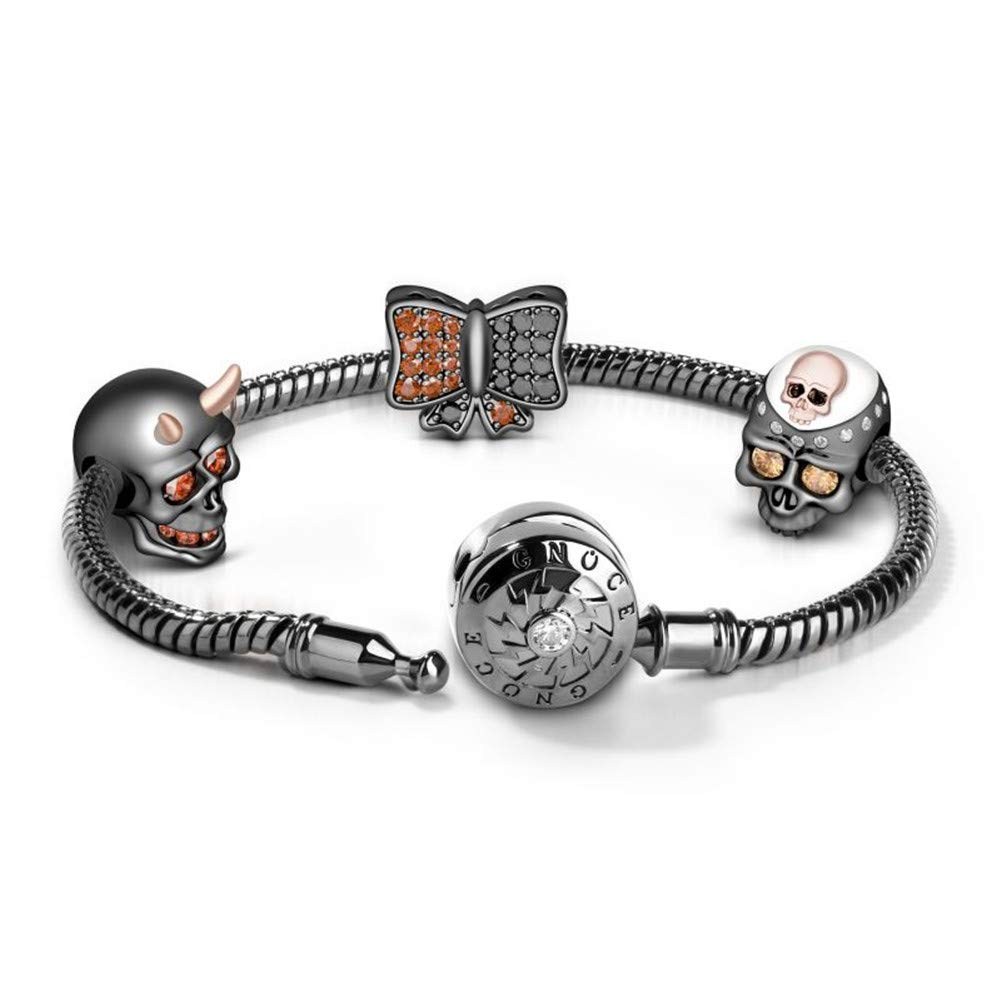 GNOCE Charms Bracelet Sterling Silver Black Plated Snake Chain Basic Charm Bracelet with Three Unique Black Skull Charm Beads Bangle with Clasp (Black-2, 8.7)