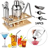 14 Piece Stainless Steel Cocktail Shaker Set Bartender Kit Bar Tools Barware with Cocktail Strainer, Drink Stirrer, Cocktail Muddler, Ice Tongs, Mixing Spoon, Bottle Poures
