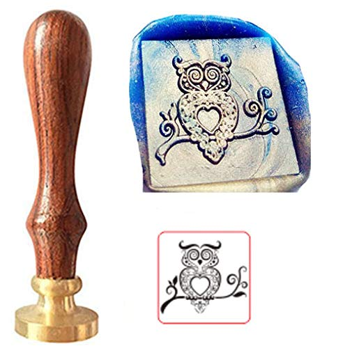 MNYR Vintage Owl Magic Square Wax Seal Sealing Stamp Kit with Rosewood Handle - Ideal for Valentine Decorating Gift Packing, Envelopes, Parcels, Cards, Letetrs, Wedding Invitations and Everything Else