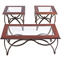 3 Piece Medium Cherry Finish Wood Metal Occasional Table Set With Glass Tops Coffee Table + 2 End Tables Living Room Furniture